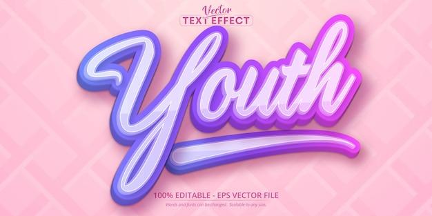 청소년 텍스트, 여러 가지 빛깔의 그라디언트 스타일 편집 가능한 텍스트 효과