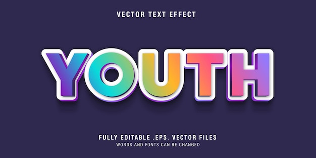 Youth text style effect editable