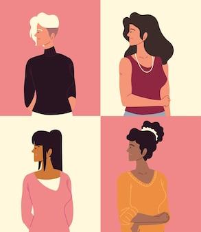 청년 여성, 다양한 그룹 세트
