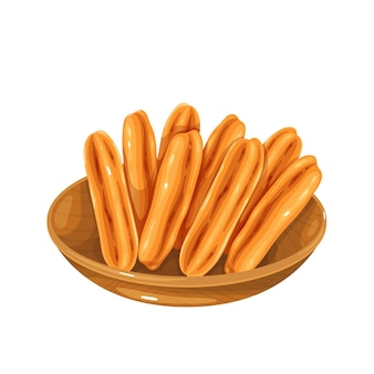Youtiao chinese cruller. chinese deep-fried dough stick vector illustration.