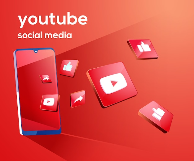 Youtube 3d social media icons with smartphone symbol