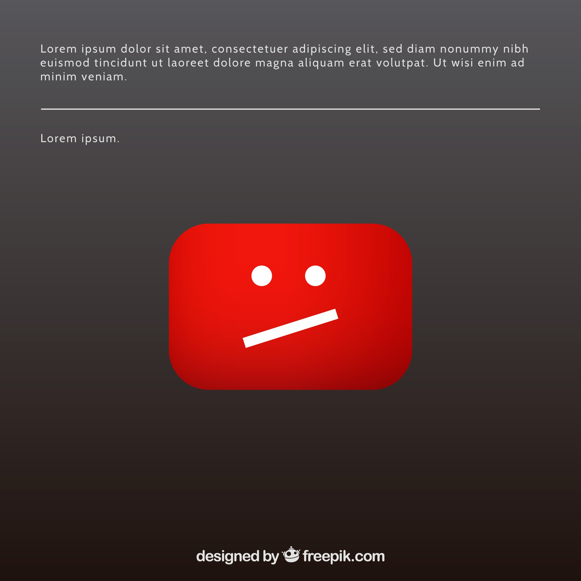 Youtube error message with flat design