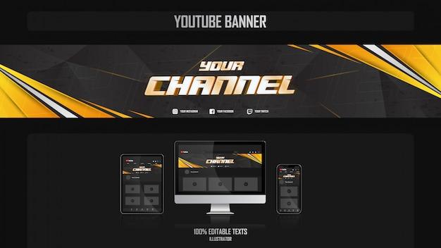Баннер для канала youtube с концепцией gamer