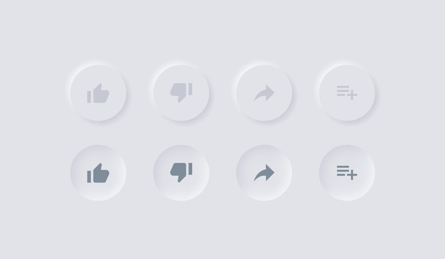 Youtube icons in neumorphism buttons like dislike share save notifications neumorphic ui design
