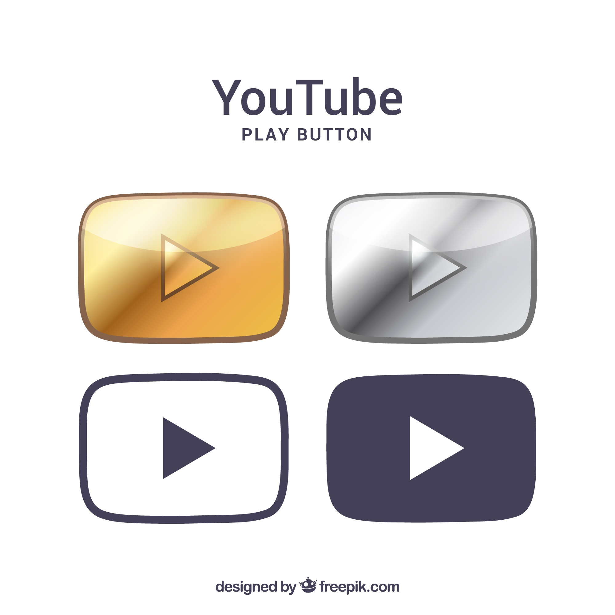 Youtube logo collection with flat design