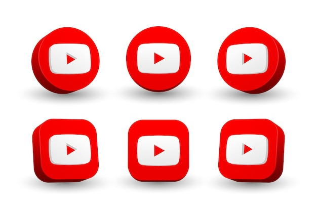 Youtube logo icon collection isolated on white