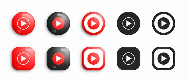 Youtube music modern 3d and flat icons set