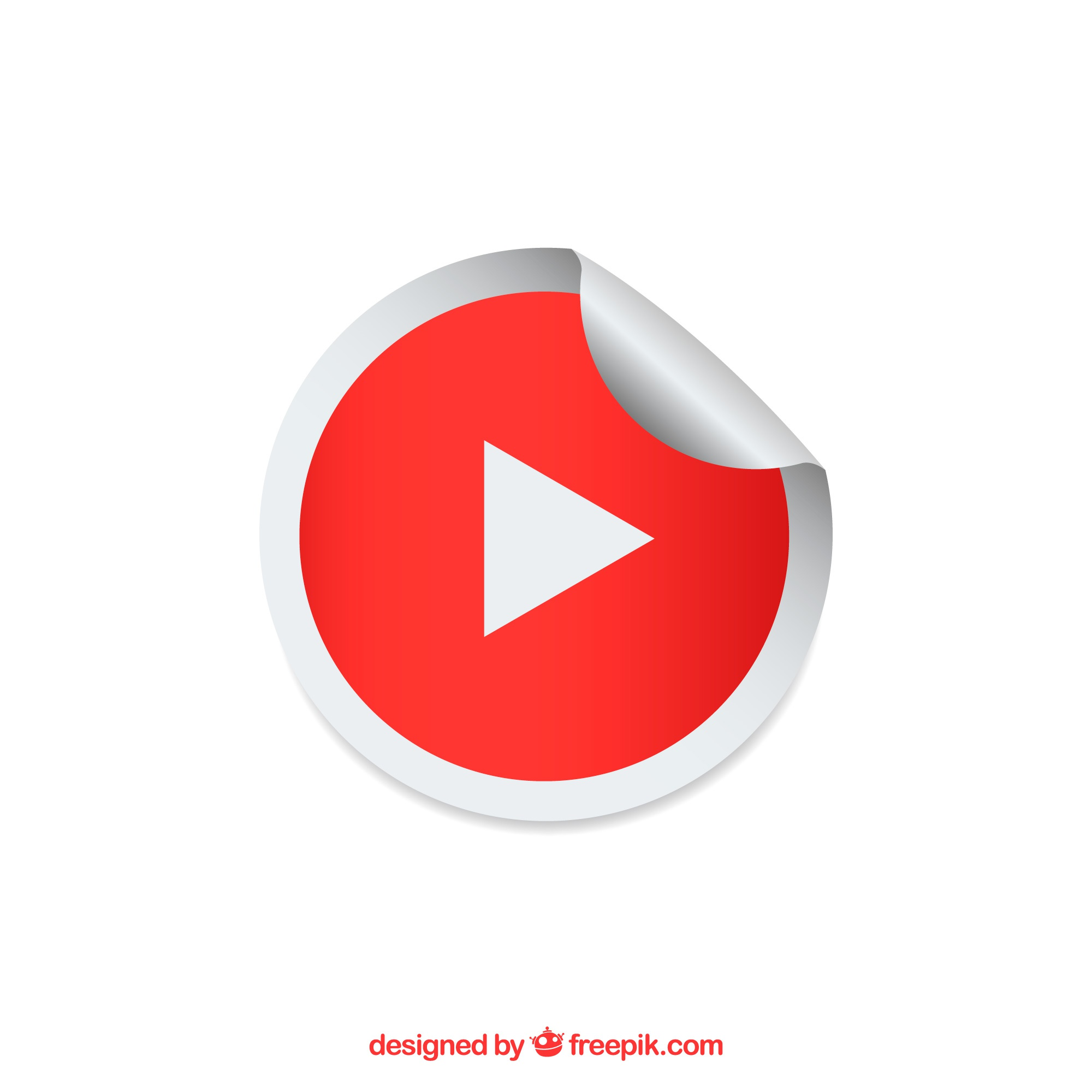 Youtube player icon with flat design