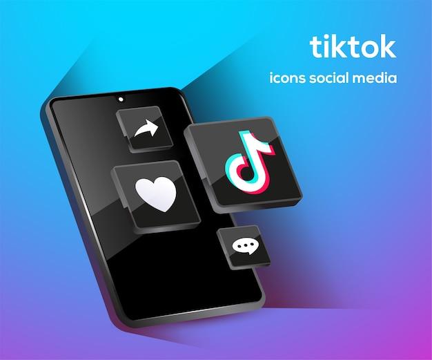 スマートフォンのシンボルが付いたyoutubeソーシャルメディアアイコン