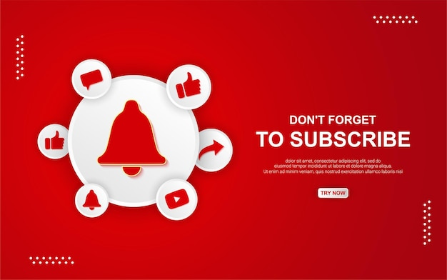 Youtube subscribe button with bell on red background