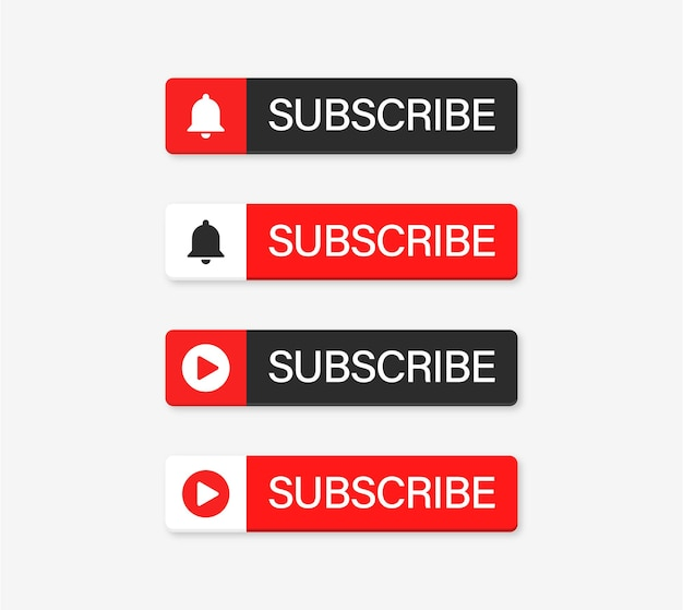 Youtube subscribe button with notification bell icon and player symbol