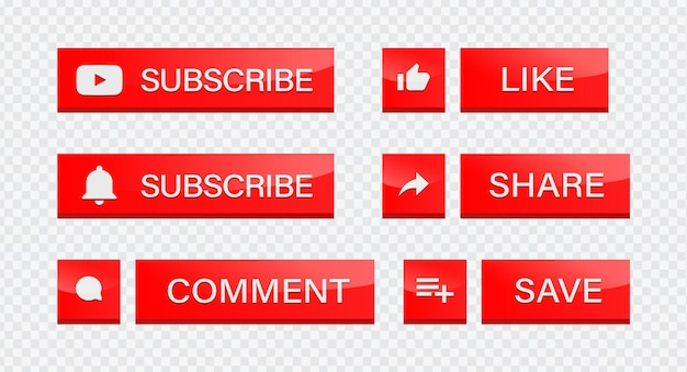 Youtube subscribe button with notification icons like comment share save for social media