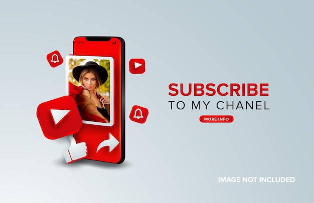 Youtube subscribe on mobile concept