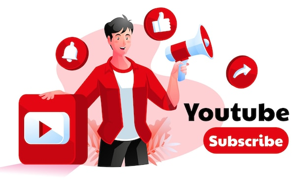 Youtube subscribe promotion illustration