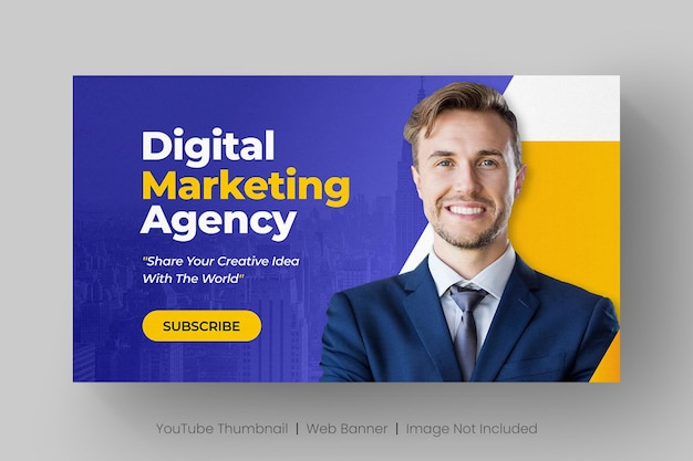 Youtube thumbnail and web banner template for digital marketing live workshop