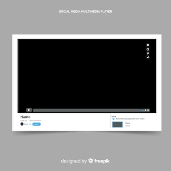 Youtube video player template vectorized