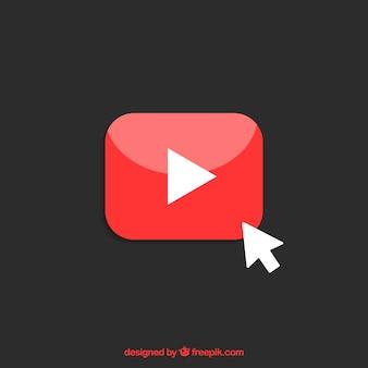 Значок проигрывателя youtube с плоским дизайном