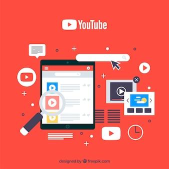 Youtube плеер в устройстве с плоским дизайном
