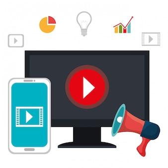 Youtubeのビデオプレーヤーソーシャルメディアデザイン。