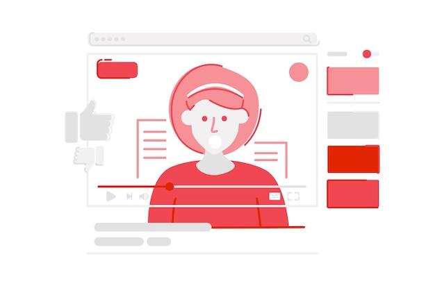 Youtubeのソーシャルメディアプラットフォームのイラスト