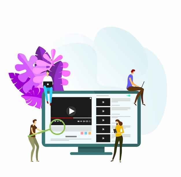 Векторные иллюстрации youtube веб-адаптивная онлайн-трансляция видео.