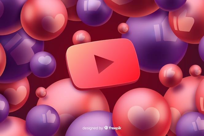 Youtubeのロゴと抽象的な背景