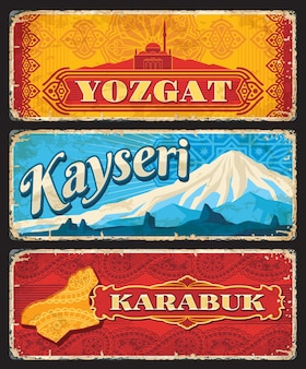 Yozgat, kayseri and karabuk il or provinces of turkey vintage plates. vector map, capanoglu camii mosque and mount erciyes grunge stickers and old signs with arabesque patterns, turkish travel design