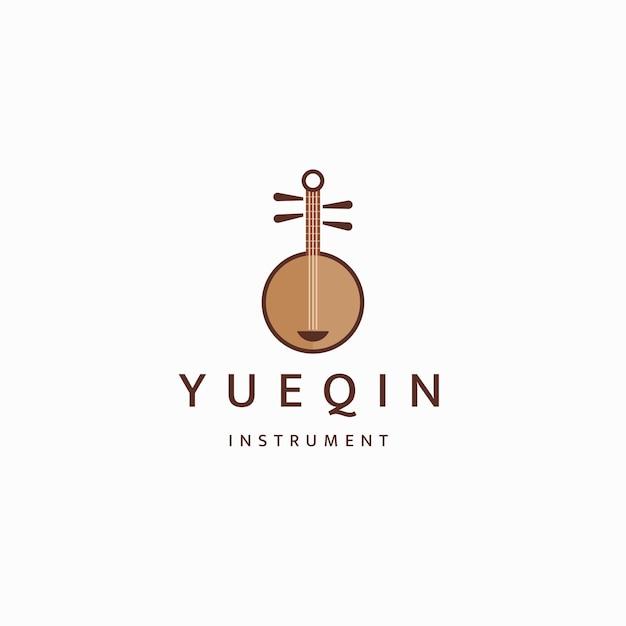 Yueqin 중국 전통 악기 로고 아이콘 디자인 템플릿 평면 벡터
