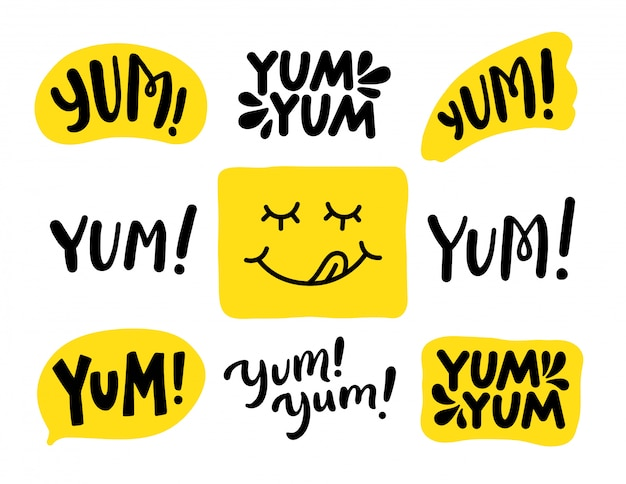 Yum yum words set. . lettering