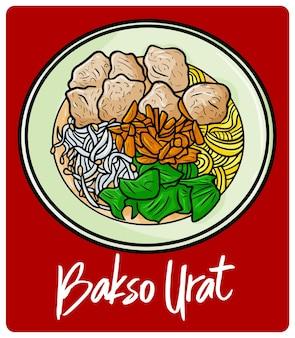 낙서 스타일의 맛있고 맛있는 bakso urat 인도네시아 식사