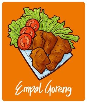 낙서 스타일의 맛있고 맛있는 empal goreng 인도네시아 식사
