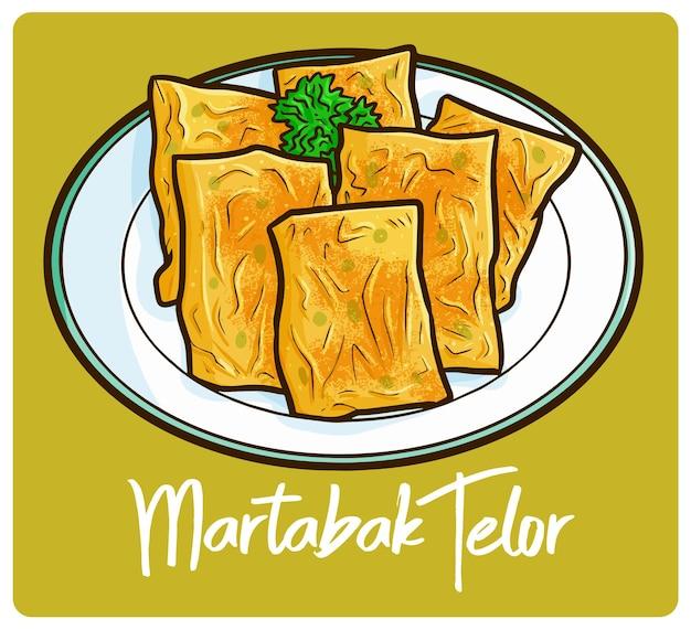 맛있고 맛있는 martabak telor bebek 낙서 스타일의 인도네시아 간식