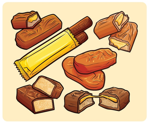 Yummy chocolate caramel collection in cartoon style