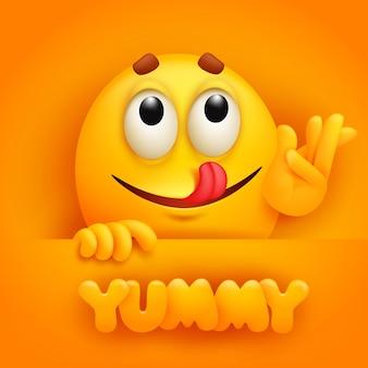 Yummy. cute emoji cartoon character on yellow backround.