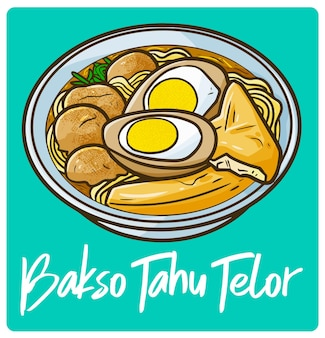 Yummy and delicious bakso tahu telor an indonesian meal in doodle style