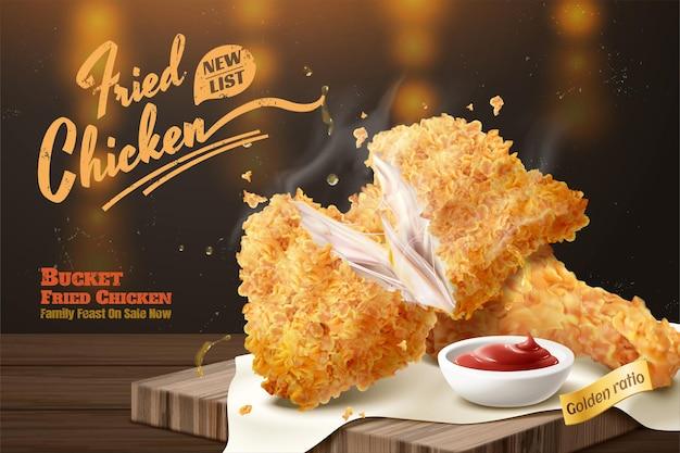Вкусная реклама курицы с соусом на деревянной тарелке и фоном боке в 3d иллюстрации