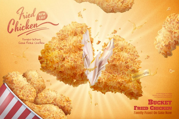 Вкусная реклама куриных ведер на сверкающем желтом фоне в 3d иллюстрации