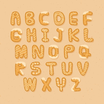 Yummy gingerbread cookie alphabet