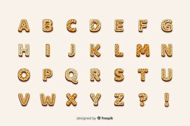 Yummy gingerbread letters christmas alphabet