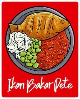 인도네시아 자카르타의 맛있는 ikan bakar pete 전통 음식