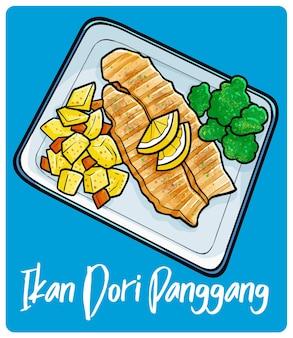 낙서 스타일의 맛있는 이칸 도리 팡강 전통 인도네시아 음식