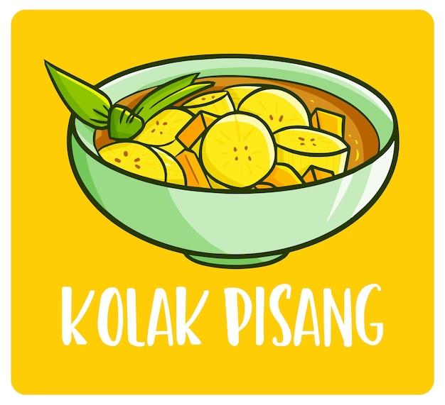 Вкусный колак писанг или банановый компот в миске сладкий десерт из индонезии в стиле каракули
