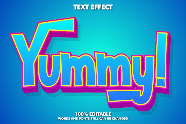 Yummy label sticker, editable cartoon text effect
