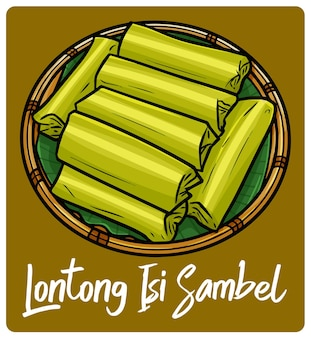 Yummy lontong isi sambel a traditional snack from indonesia in doodle style
