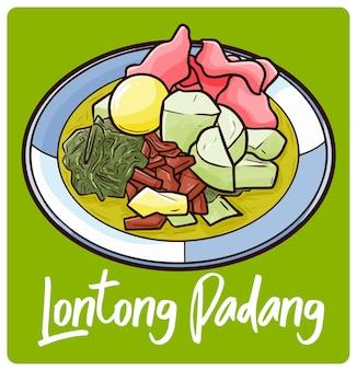 인도네시아 빠당의 전통 음식인 맛있는 론통 사유르 빠당