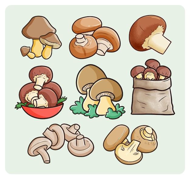 Вкусная коллекция грибов в простом каракули
