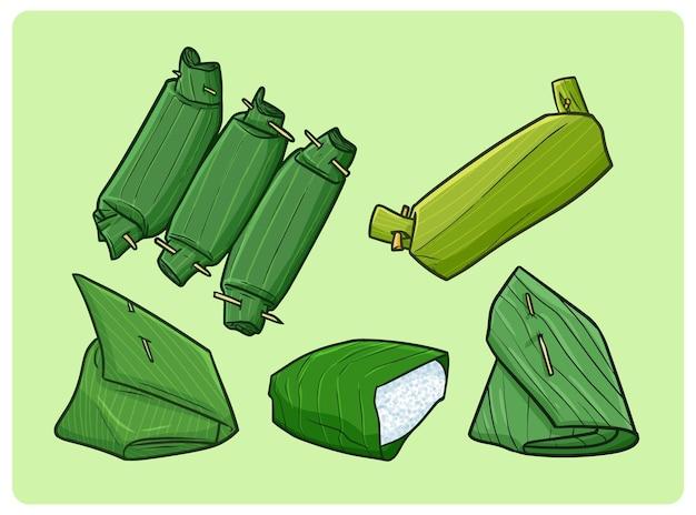 바나나 잎으로 싸인 맛있는 쌀은 낙서 스타일의 인도네시아 전통 식사를 수집합니다.