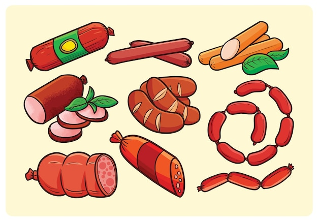 만화 스타일의 맛있는 소시지 컬렉션