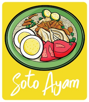 Yummy soto ayam a traditional food from indonesia in cartoon style