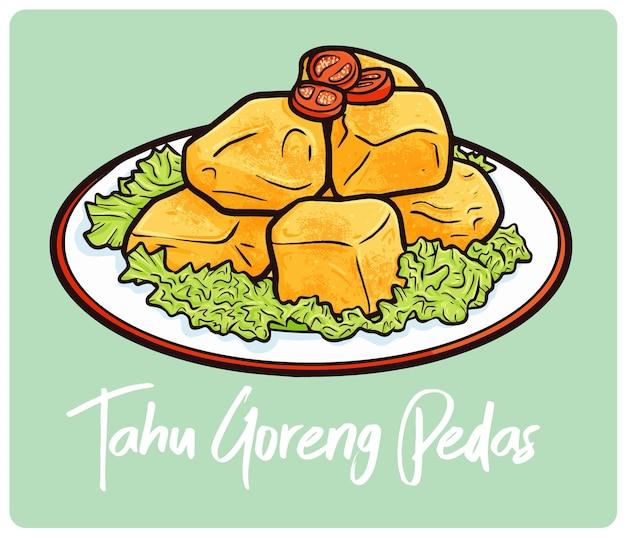 낙서 스타일의 인도네시아 간식 맛있는 tahu goreng pedas